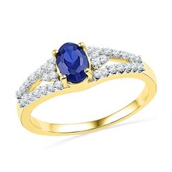 1.03 CTW Oval Created Blue Sapphire Solitaire Diamond Ring 10KT Yellow Gold - REF-19X4Y