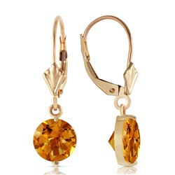Genuine 3.1 ctw Citrine Earrings Jewelry 14KT Yellow Gold - REF-21Y6F