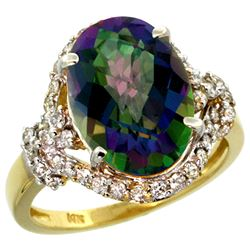 Natural 5.89 ctw mystic-topaz & Diamond Engagement Ring 14K Yellow Gold - REF-88A8V