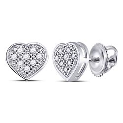 0.05 CTW Diamond Heart Screwback Earrings 10KT White Gold - REF-6M6H