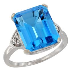 Natural 5.44 ctw swiss-blue-topaz & Diamond Engagement Ring 14K White Gold - REF-45H5W