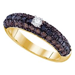 1.15 CTW Black Color Diamond Solitaire Bridal Ring 10KT Yellow Gold - REF-44K9W