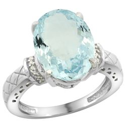 Natural 5.53 ctw Aquamarine & Diamond Engagement Ring 10K White Gold - REF-74A3V