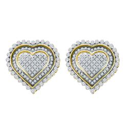 1 CTW Diamond Heart Screwback Cluster Earrings 10KT Yellow Gold - REF-67M4H