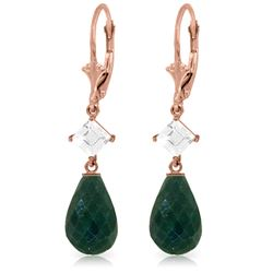 Genuine 18.6 ctw Green Sapphire Corundum & White Topaz Earrings Jewelry 14KT Rose Gold - REF-46H7X