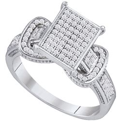 0.33 CTW Diamond Rectangle Cluster Fashion Ring 10KT White Gold - REF-37F5N