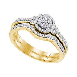 0.25 CTW Diamond Cluster Bridal Engagement Ring 10KT Yellow Gold - REF-32X9Y