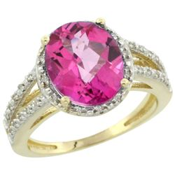 Natural 3.47 ctw Pink-topaz & Diamond Engagement Ring 14K Yellow Gold - REF-46X3A
