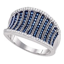 0.45 CTW Blue Color Diamond Cocktail Concave Ring 10KT White Gold - REF-52F4N