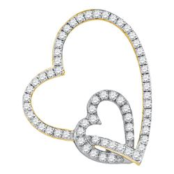 0.33 CTW Diamond Double Linked Heart Pendant 10KT Yellow Two-tone Gold - REF-22H4M