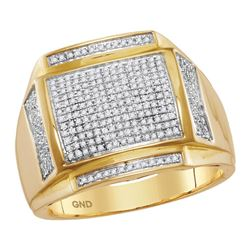 0.46 CTW Mens Pave-set Diamond Square Cluster Ring 10KT Yellow Gold - REF-64Y4X