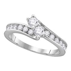 1.45 CTW Diamond 2-stone Hearts Together Bridal Ring 14KT White Gold - REF-187M4H