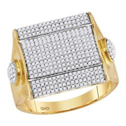 1.1 CTW Mens Diamond Square Cluster Ring 10KT Yellow Gold - REF-112Y5X