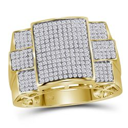 0.78 CTW Diamond Symmetrical Square Cluster Ring 10KT Yellow Gold - REF-75Y2X