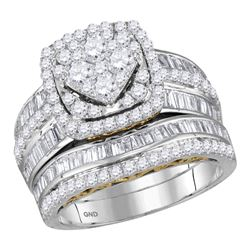 1.82 CTW Diamond Cluster Bridal Engagement Ring 14KT Two-tone Gold - REF-179Y9X