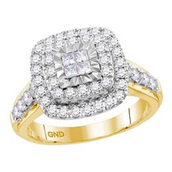 1 CTW Princess Diamond Square Cluster Bridal Engagement Ring 14KT Yellow Gold - REF-104W9K