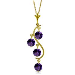 Genuine 2.25 ctw Amethyst Necklace Jewelry 14KT Yellow Gold - REF-30K2V