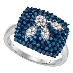 1 CTW Blue Color Diamond Square Cluster Ring 10KT White Gold - REF-41X9Y