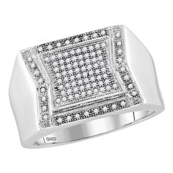 0.30 CTW Mens Diamond Indented Square Cluster Ring 10KT White Gold - REF-44M9H