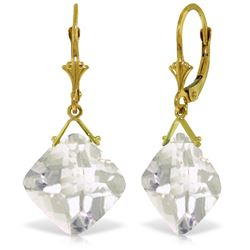 Genuine 17.5 ctw White Topaz Earrings Jewelry 14KT Yellow Gold - REF-39T3A
