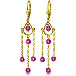 Genuine 3 ctw Pink Topaz Earrings Jewelry 14KT Yellow Gold - REF-48T9A