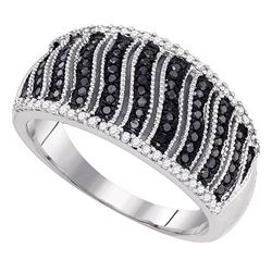 0.40 CTW Black Color Diamond Ring 10KT White Gold - REF-40X4Y