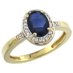 Natural 1.08 ctw Blue-sapphire & Diamond Engagement Ring 10K Yellow Gold - REF-28Z5Y