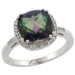 Natural 4.11 ctw Mystic-topaz & Diamond Engagement Ring 14K White Gold - REF-44X2A