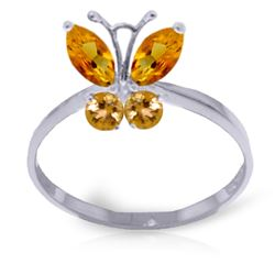 Genuine 0.60 ctw Citrine Ring Jewelry 14KT White Gold - REF-28N9R