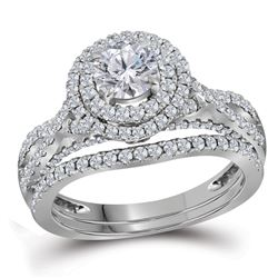 1.75 CTW Diamond Double Halo Bridal Engagement Ring 14KT White Gold - REF-367Y5X