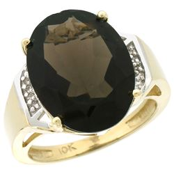 Natural 11.02 ctw Smoky-topaz & Diamond Engagement Ring 14K Yellow Gold - REF-65H8W
