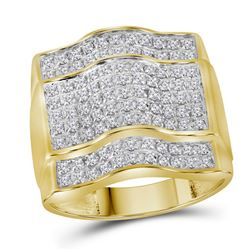 1 CTW Mens Diamond Arched Square Cluster Ring 10KT Yellow Gold - REF-67W4K