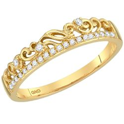 0.07 CTW Diamond Floral Stackable Ring 10KT Yellow Gold - REF-13H4M