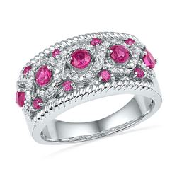 1.1 CTW Created Pink Sapphire Diamond Roped Ring 10KT White Gold - REF-37W5K