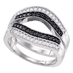 0.55 CTW Black Color Diamond Ring 10KT White Gold - REF-44Y9X