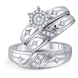 0.29 CTW His & Hers Diamond Cross Cluster Matching Bridal Ring 10KT White Gold - REF-52M4H