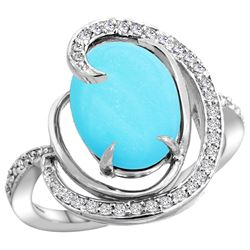 Natural 6.53 ctw turquoise & Diamond Engagement Ring 14K White Gold - REF-90N5G