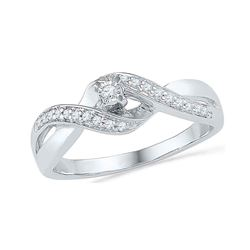 0.20 CTW Diamond Solitaire Crossover Promise Bridal Ring 10KT White Gold - REF-22N4F