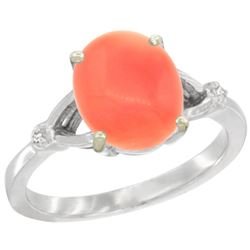 Natural 2.01 ctw Coral & Diamond Engagement Ring 14K White Gold - REF-32M2H