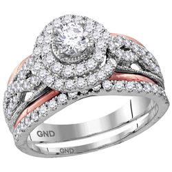 1.2 CTW Diamond Double Halo Certified Bridal Engagement Ring 14KT White Gold - REF-157K5W
