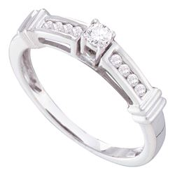 0.25 CTW Diamond Solitaire Bridal Engagement Ring 14KT White Gold - REF-32K9W