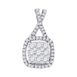 0.50 CTW Diamond Square Cluster Pendant 10KT White Gold - REF-36X2Y