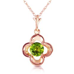 Genuine 0.55 ctw Peridot Necklace Jewelry 14KT Rose Gold - REF-23P6H