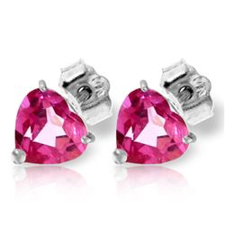 Genuine 3.25 ctw Pink Topaz Earrings Jewelry 14KT White Gold - REF-20P4H
