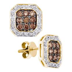 0.75 CTW Cognac-brown Color Diamond Screwback Earrings 14KT Yellow Gold - REF-64Y4X