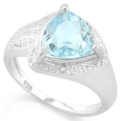 RING - 2 4/5 CARAT BABY SWISS BLUE TOPAZ & 2 DIAMONDS IN 925 STERLING SILVER - SZ 7 - RETAIL ESTIMAT