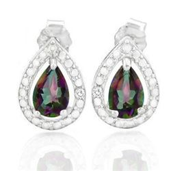 EARRINGS - 4/5 CTW MYSTIC GEMSTONE IN 925 STERLING SILVER SETTING - RETAIL ESTIMATE $250