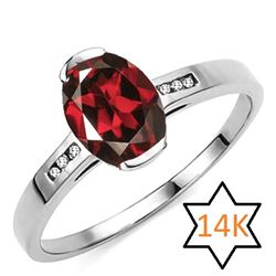 **** FEATURE ITEM **** RING - 1.49 CT GARNET & DIAMOND IN 14KT SOLID WHTIE GOLD - INCLUDES CERTIFICA