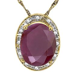 *NECKLACE SET - LARGE OVAL FACETED 5.58 CARAT RUBY & 12 GENUINE DIAMONDS IN GOLD OVER 925 STERLING S