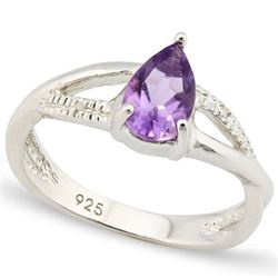 *RING -  4/5 CARAT TW AMETHYST & GENUINE DIAMONDS IN PLATINUM OVER 0.925 STERLING SILVER SETTING - S
